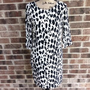 Boden Ink Blot Print Dress 8L Long